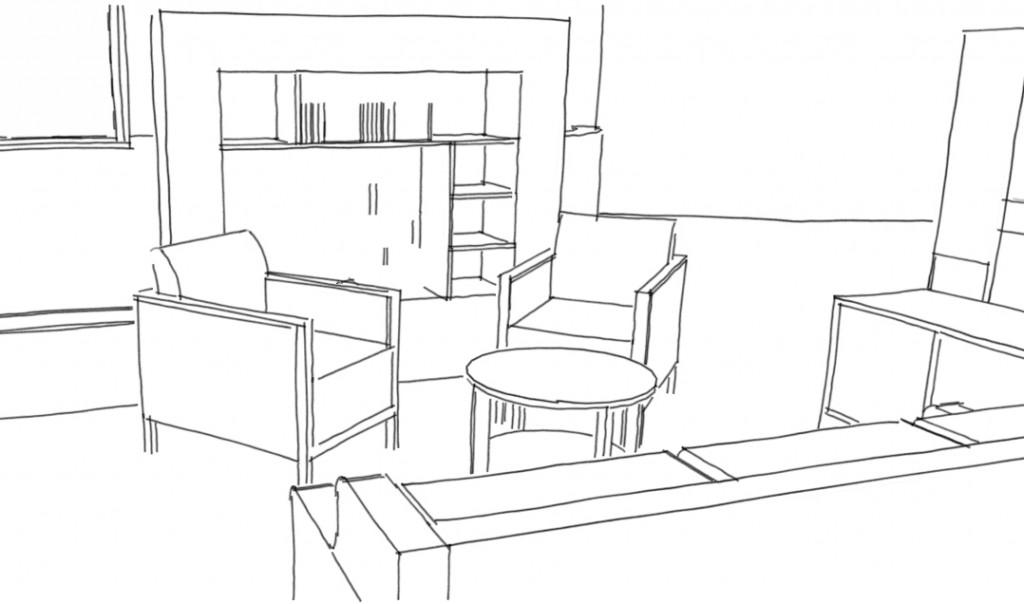 croquis général salon1 1024x604 Pièces de vie à mobilier adapté